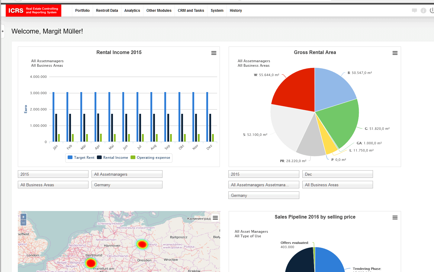Screenshot Geschäftsfelder